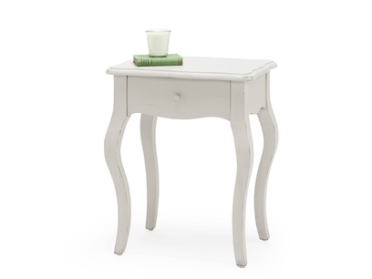 Mimi french style wooden bedside table with curved legs and a handy drawer in scuffed grey