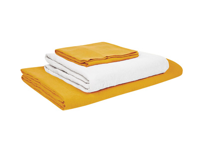 Superking Lazy Linen duvet covers in Tuscan Yellow