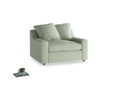 Cloud love seat sofa bed in Powder green Clever Linen