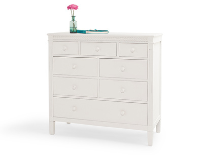 Painted kids white wooden Ludo bedroom chest of drawers