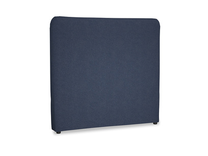 Double Ruffle Headboard in Night Owl Blue Clever Woolly Fabric