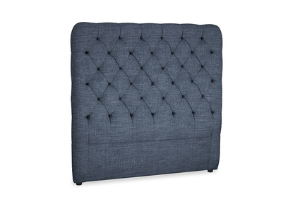 Double Tall Billow Headboard in Selvedge Blue Clever Laundered Linen