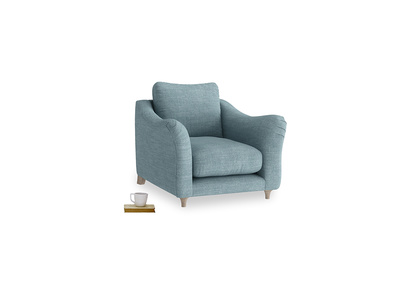 Bumpster Armchair in Soft Blue Laundered Linen