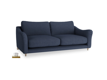 Large Bumpster Sofa in Night Owl Blue Clever Woolly Fabric