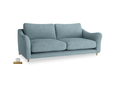 Large Bumpster Sofa in Soft Blue Clever Laundered Linen