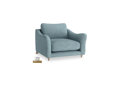Love Seat Bumpster Love Seat in Soft Blue Clever Laundered Linen