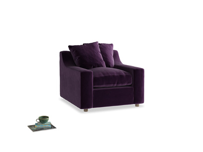 Cloud Armchair in Deep Purple Clever Deep Velvet