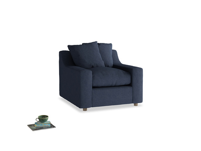 Cloud Armchair in Night Owl Blue Clever Woolly Fabric