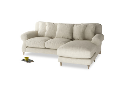 Large right hand Crumpet Chaise Sofa in Shell Clever Laundered Linen