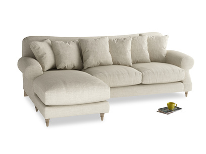 XL Left Hand  Crumpet Chaise Sofa in Shell Clever Laundered Linen
