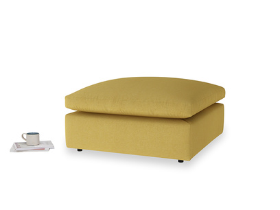 Cuddlemuffin Footstool in Easy Yellow Clever Woolly Fabric