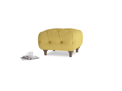 Square Dimple Footstool in Easy Yellow Clever Woolly Fabric
