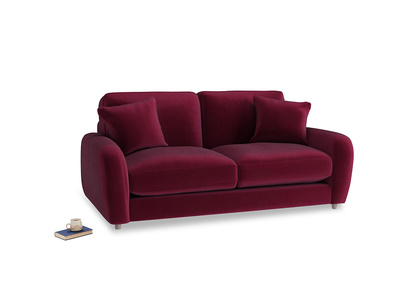 Small Easy Squeeze Sofa in Merlot Plush Velvet
