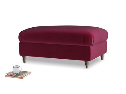 Rectangle Flatster Footstool in Merlot Plush Velvet