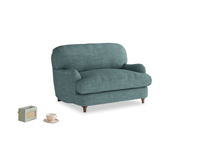 Jonesy Love seat in Blue Turtle Clever Laundered Linen
