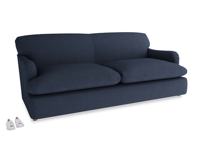 Large Pudding Sofa Bed in Night Owl Blue Clever Woolly Fabric