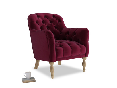 Reader Armchair in Merlot Plush Velvet