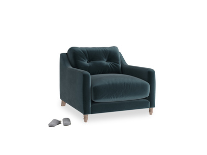 Slim Jim Armchair in Bluey Grey Clever Deep Velvet