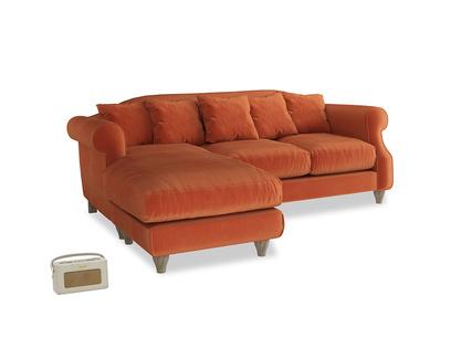 Large left hand Sloucher Chaise Sofa in Old Orange Clever Deep Velvet
