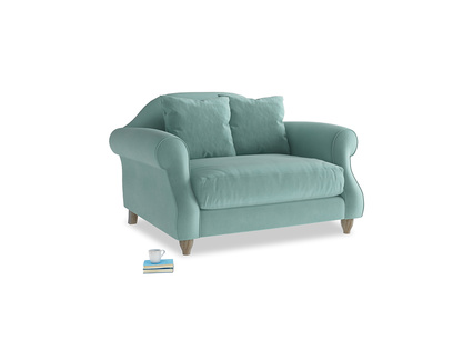 Sloucher Love seat in Greeny Blue Clever Deep Velvet
