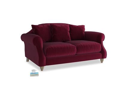 Small Sloucher Sofa in Merlot Plush Velvet