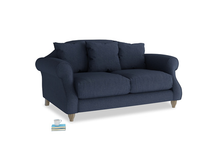 Small Sloucher Sofa in Night Owl Blue Clever Woolly Fabric