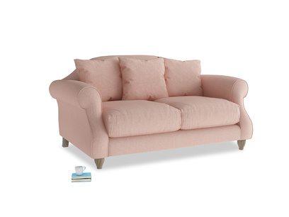 Small Sloucher Sofa in Pale Pink Clever Woolly Fabric