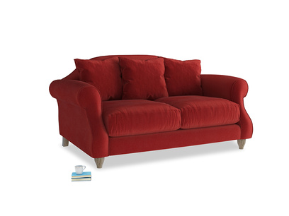 Small Sloucher Sofa in Rusted Ruby Vintage Velvet