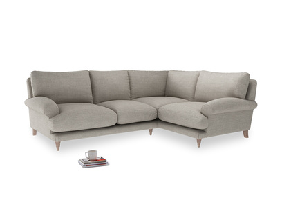 Large Right Hand Slowcoach Corner Sofa in Grey Daybreak Clever Laundered Linen