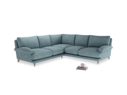 Even Sided Slowcoach Corner Sofa in Soft Blue Clever Laundered Linen