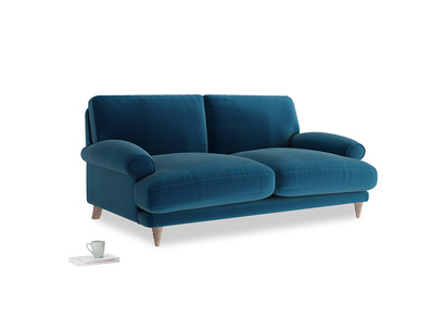 Medium Slowcoach Sofa in Berlin Blue Clever Deep Velvet
