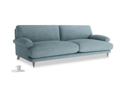 Extra large Slowcoach Sofa in Soft Blue Clever Laundered Linen