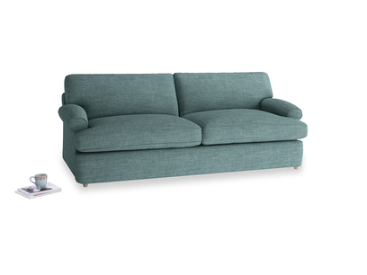 Large Slowcoach Sofa Bed in Blue Turtle Clever Laundered Linen