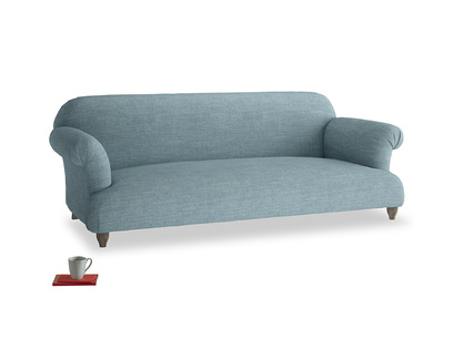 Large Soufflé Sofa in Soft Blue Clever Laundered Linen