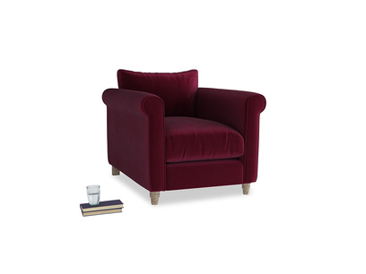 Weekender Armchair in Merlot Plush Velvet