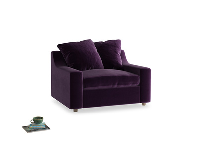 Cloud love seat sofa bed in Deep Purple Clever Deep Velvet