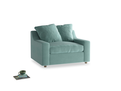 Cloud love seat sofa bed in Greeny Blue Clever Deep Velvet