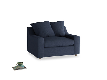 Cloud love seat sofa bed in Night Owl Blue Clever Woolly Fabric