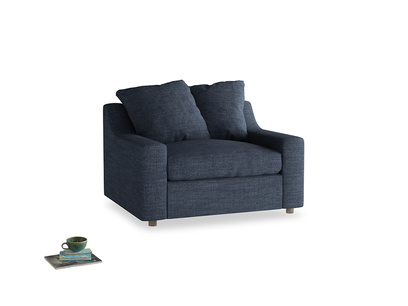 Cloud love seat sofa bed in Selvedge Blue Clever Laundered Linen