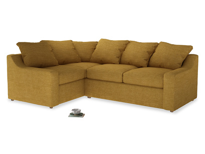 Large Left Hand Cloud Corner Sofa in Mellow Yellow Clever Laundered Linen