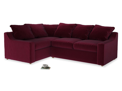 Large Left Hand Cloud Corner Sofa in Merlot Plush Velvet