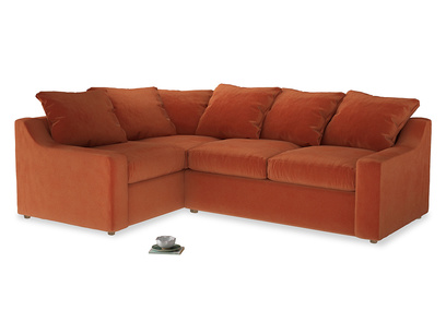 Large Left Hand Cloud Corner Sofa in Old Orange Clever Deep Velvet