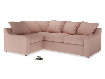 Large Left Hand Cloud Corner Sofa in Pale Pink Clever Woolly Fabric