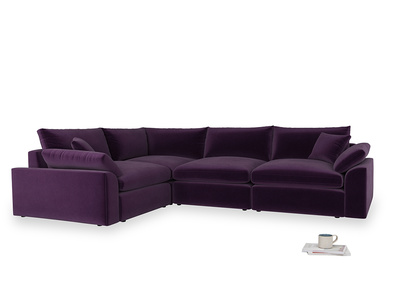 Large left hand Cuddlemuffin Modular Corner Sofa in Deep Purple Clever Deep Velvet