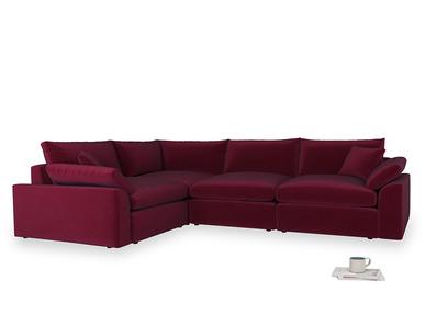 Large left hand Cuddlemuffin Modular Corner Sofa in Merlot Plush Velvet