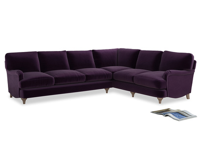 Xl Right Hand Jonesy Corner Sofa in Deep Purple Clever Deep Velvet