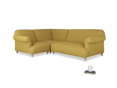 Large left hand Soufflé Modular Corner Sofa in Easy Yellow Clever Woolly Fabric with both arms
