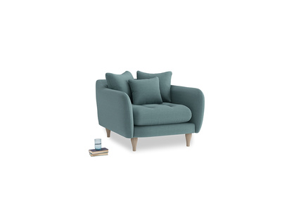 Skinny Minny Armchair in Marine washed cotton linen