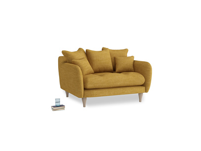 Skinny Minny Love Seat in Mellow Yellow Clever Laundered Linen
