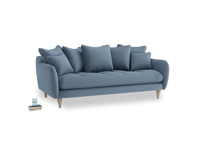 Large Skinny Minny Sofa in Nordic blue brushed cotton